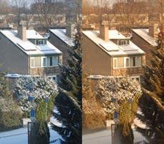sneeuw door bruine zonnebril